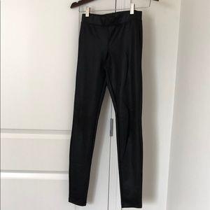 Express Black Leather Skinny Pants.